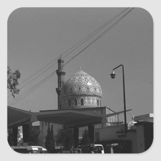 Vintage Iraq Baghdad Gas station at mosque 1970 Square Sticker