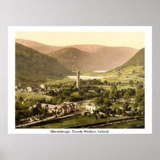 Vintage Ireland 19th century Glendalough Wicklow Poster