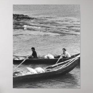 Vintage Ireland Aran Island Currach Boat at Sea Posters