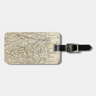 Vintage Ireland Map Dublin Kildare Region Travel Luggage Tag