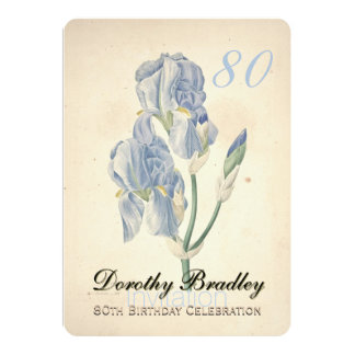 Vintage Iris 80th Birthday Celebration Invitation