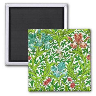 Vintage Iris Bird Floral Pattern William Morris 2 Inch Square Magnet