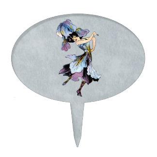 vintage iris flower fairy cake topper