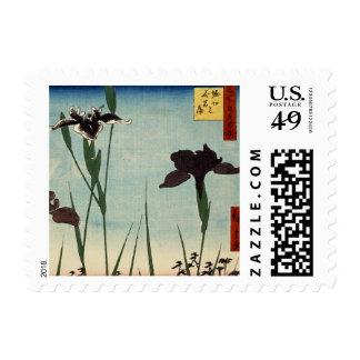 Vintage Iris Garden Ukiyo-e Japanese Painting Stamps