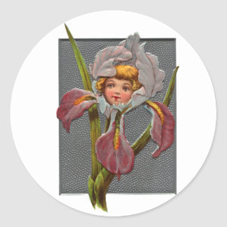Vintage Iris Girl Classic Round Sticker