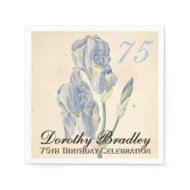 Vintage Irises 75th Birthday Party Paper Napkins