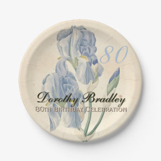 Vintage Irises 80th Birthday Party Paper Plates