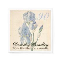 Vintage Irises 90th Birthday Party Paper Napkins