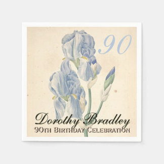 Vintage Irises 90th Birthday Party Paper Napkins