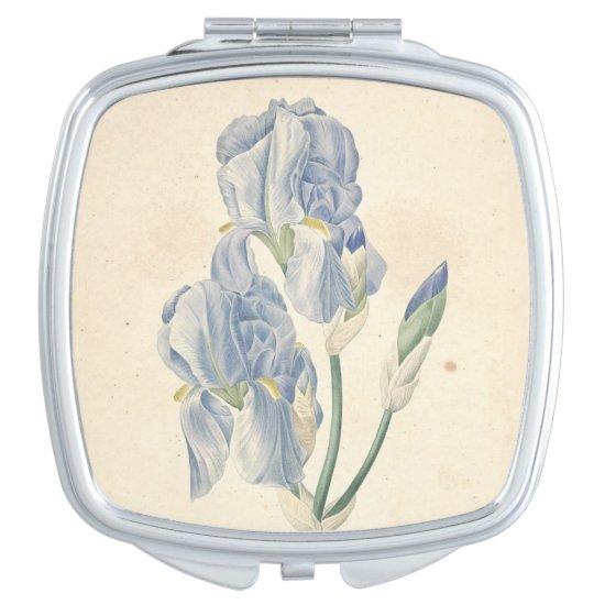 Vintage Irises Watercolors Birthday Compact Mirror