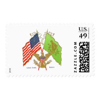 Vintage Irish American Flags Postage