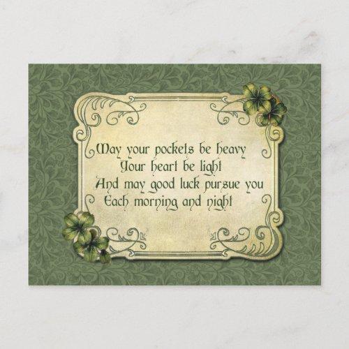 Vintage Irish Blessing and Shamrocks Postcard