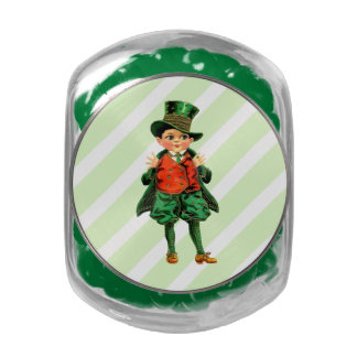 Vintage Irish Boy. St. Patrick's Day Candy Glass Candy Jars