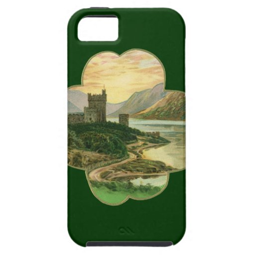 Vintage Irish Castle Inside a Lucky Gold Shamrock iPhone 5 Cases