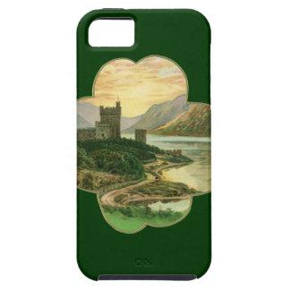 Vintage Irish Castle Inside a Lucky Gold Shamrock iPhone 5 Cases