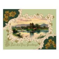 Vintage Irish Castle St. Patrick's Day Post Cards