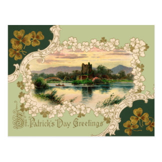 Vintage Irish Castle St. Patrick's Day Postcard