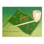 Vintage Irish Flag Harp of Erin St Patrick's Day C Postcard