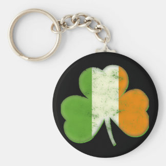 Vintage Irish Flag Shamrock Keychain