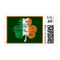 Vintage Irish Flag Shamrock Postage Stamp