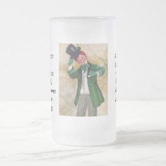 vintage irish gentleman frosted glass beer mug
