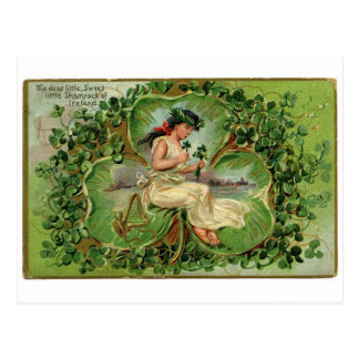 Vintage Irish Girl with Shamrocks Postcard