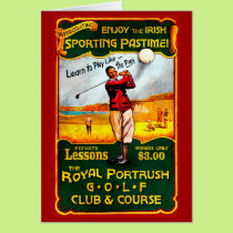 Vintage Irish Golf Greeting Card