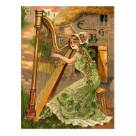 Vintage Irish Harp St. Patrick's Day Postcards