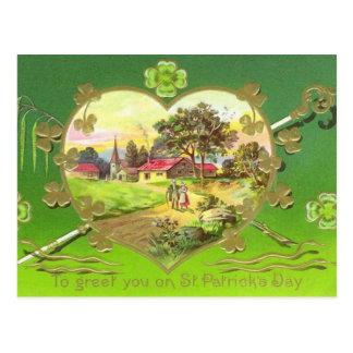 Vintage Irish Heart St. Patrick's Day Postcard