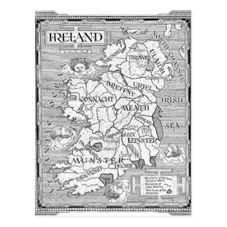 Vintage Irish Map Postcard