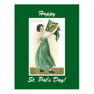 Vintage Irish Miss Postcard