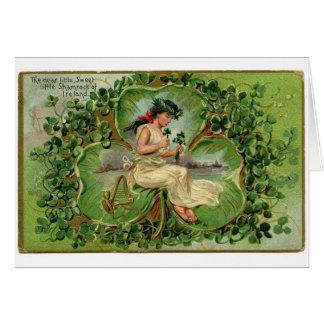 Vintage Irish Shamrock Greeting Card