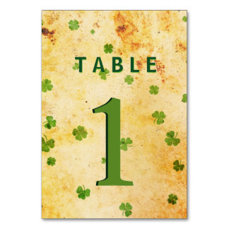 Vintage Irish Shamrocks Table card