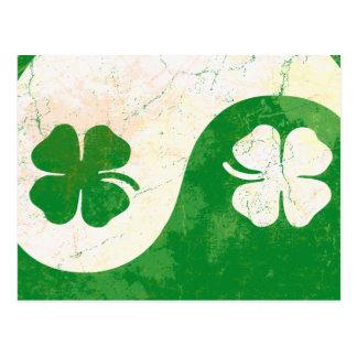 Vintage Irish Shamrocks Yin Yang Postcard