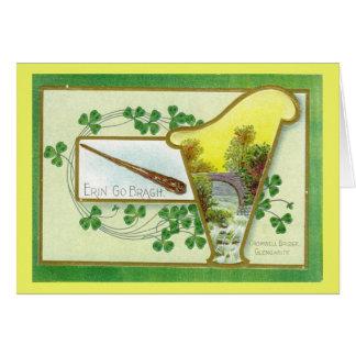 Vintage Irish St Patrick's Day Harp Card