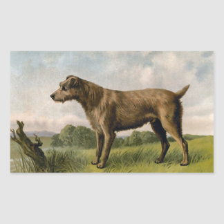 Vintage Irish Terrier on country landscape Rectangle Sticker