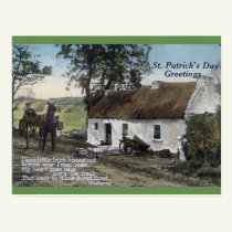 Vintage Irish Thatched Cottage St. Patricks Day Postcard