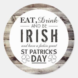 Vintage Irish Wood St Patrick's Day Classic Round Sticker