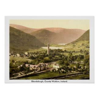 Vintage Irlanda, Glendalough del siglo XIX Wicklow Póster
