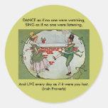 vintage irlandés de los bailarines pegatina redonda