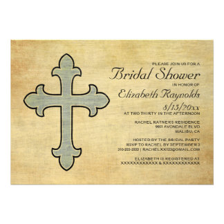 Vintage Iron Cross Bridal Shower Invitations Custom Invitation