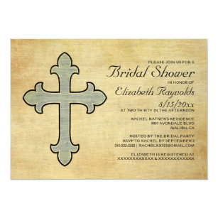 vintage iron cross bridal shower invitations