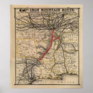Vintage Iron Mountain Railway Route Poster