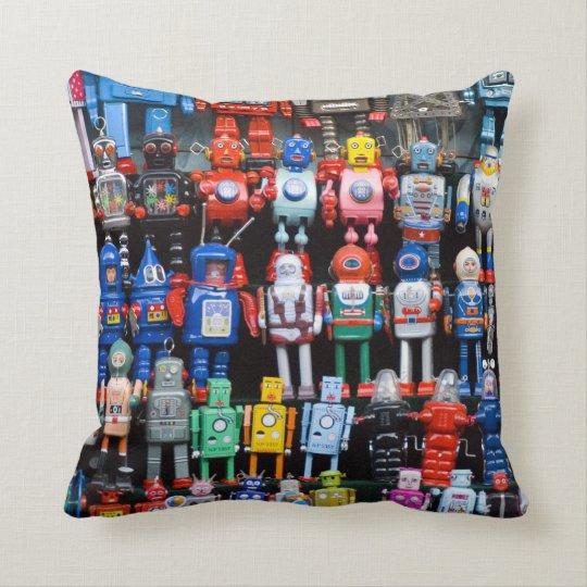 Vintage iron tin toy robot collection Pillow