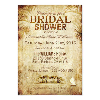 Vintage Island Destination Wedding Bridal Shower Card