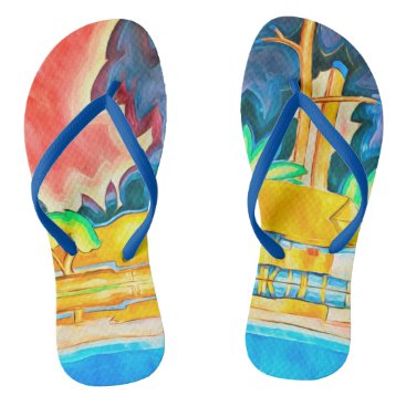 Hawaiian Themed Vintage Island Tropic Abstract Colorful Painting Flip Flops
