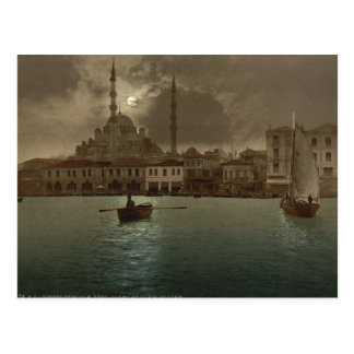 Vintage Istanbul  cityscape with moon light Postcard