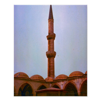 Vintage  Istanbul, Minaret on a mosque Poster