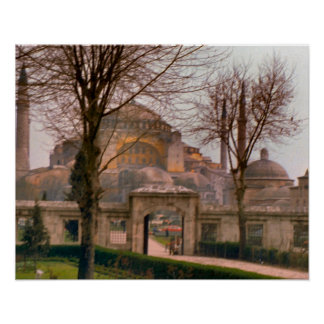 Vintage  Istanbul, Mosque with minarets Poster