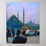 Vintage  Istanbul, Traffic, Hagia Sophia Mosque Poster